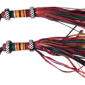 Red Leather Tribal Tassels, Pair