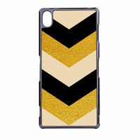 Chevron Classy Black And Gold Printed Sony Xperia Z3 Case