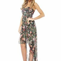 Black Strapless Floral Hi-Low Dress