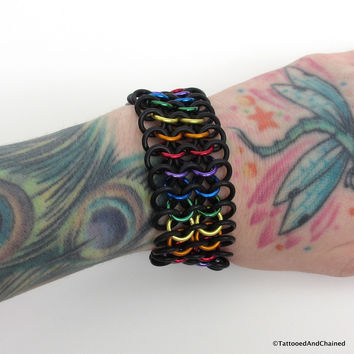 Rainbow gay pride stretchy bracelet, chainmaille European 4 in 1 weave