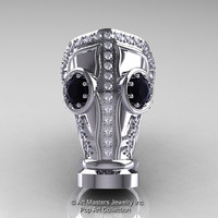 Art Masters Avant Garde Mens 14K White Gold 2.0 Ct Black and White Diamond Gas Mask Ring R184M-14KWGDBD