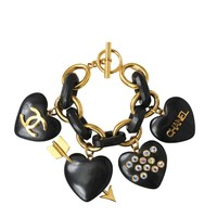 Chanel Wooden Heart Charm Bracelet