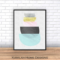 Abstract Art, Printable Art, Geometric Art Print, Scandinavian Art, Mid Century print, Modern Art, Wall Decor, Wall Art, Instant Download