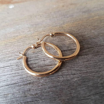 Vintage Gold Hoop Earrings , Classic Style , Real 9ct Yellow Gold , Ladies Gold Hoops , Gifts For Her