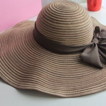 T-explorer®women Ladies Romantic Straw Hat Wide Brim Sun Visor Hat Floppy Hat for Summer with Family Shop Beautiful Hairpin (Coffee)