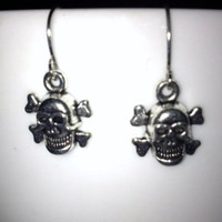 SALE: Silver Skull Charm Earrings