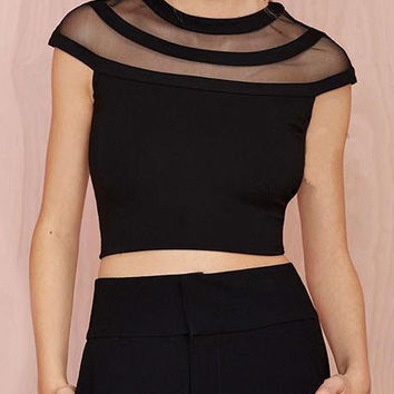 Black Sheer Mesh Neckline Crop Top