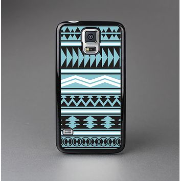 The Vector Blue & Black Aztec Pattern V2 Skin-Sert Case for the Samsung Galaxy S5