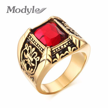 Punk Rock Men Ring Gold-Color Stainless Steel Round Finger Ring for Male Wedding