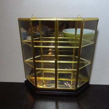 Vintage Glass and Brass Mirrored Display Table or Wall Shelf/Box with Wooden Stand/Bottom - Hollywood Regency/Mid Century Modern