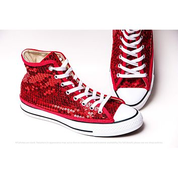 Red Sequin High Top Sneakers with Crystal Accents