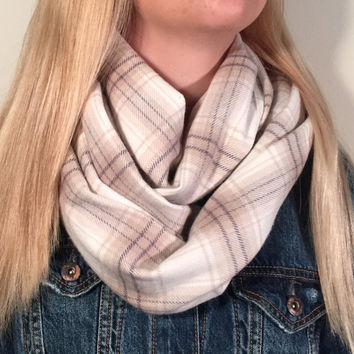 Infinity Scarf, Tartan Plaid, Flannel Scarf, Circle Scarf, Winter Scarf, Womens Scarf, Christmas Gift, Cream / Ivory Scarf, Chunky Scarf