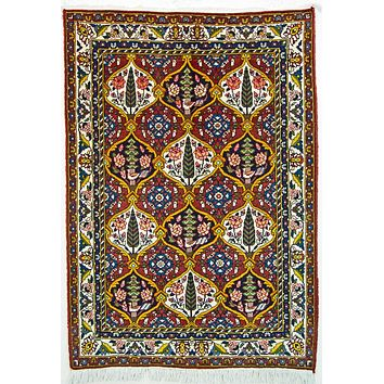 Oriental Bakhtiari Persian Wool and Cotton Tribal Rug, Bright Blue/Red