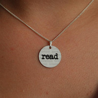 read charm necklace by BookFiend on Etsy