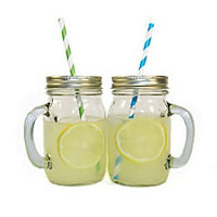 One Kings Lane - Plan Your Picnic - S/12 Mason Jar Mugs