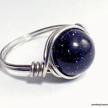 Silver Wire Wrapped Blue Goldstone Ring, Sparkly Blue Silver Wirewrap Ring, Boho Hippie Ring, Wedding Bridesmaid Jewelry Stone Wrap Ring