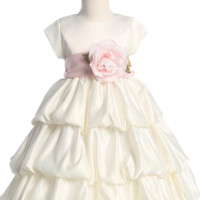 Ivory Satin Flower Girls 3 Tier Bubble Tucked Hem Dress by Blossom (Girls 6 months - Size 12)