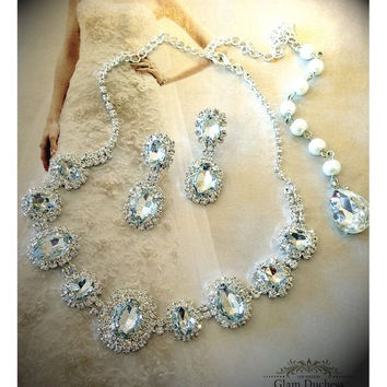 Wedding jewelry set, Bridal jewelry set, bridal necklace, backdrop necklace earrings, formal necklace, crystal necklace, bridesmaid jewelry