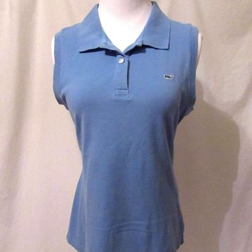 vineyard vines Sleeveless Shirt Women's Size Medium Polo Style Blue Whale Shirt