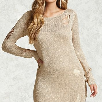 Metallic Knit Sweater Dress