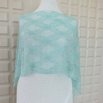 Lace Capelet- Lace Scarf- Free Shipping- Lace Shawl- Bridal Top Wear Shrug- Green-Emerald- Costume Design- Laced Accessories