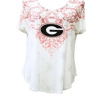 Georgia Bulldogs Ivory Victorian Shirt | UGA Ivory Victorian Shirt | Georgia Bulldogs Ladies Short Sleeve Top