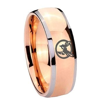 8MM Rose Gold Dome Honey Bee 2 Tone Tungsten Carbide Laser Engraved Ring