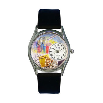 Whimsical Watches Drama Theater Royal Blue Leather And Silvertone Watch