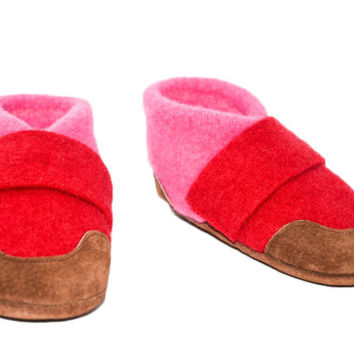 Felted Wool Slippers, Children Soft Cashmere Shoes