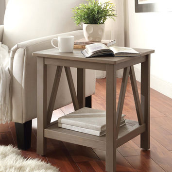 Linon Titian Rustic Gray End Table