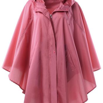 Women's Stylish Pongee Waterproof Raincoat Rain poncho Trench Coat with Hood for Hiking and Biking