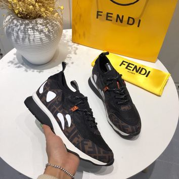 FENDI FF leather and mesh sneakers c22997f0e24e