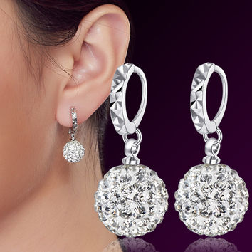 Fashion 925 Sterling Silver Earrings Women Ear Jewelry Luxury CZ Diamond Crystal Drop Earrings Rhinestone Ball Hanging Earrings
