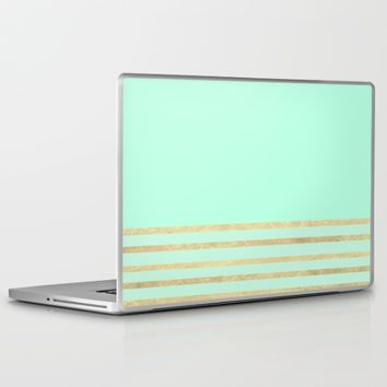 Mint and Gold stripes Laptop & iPad Skin by Xiari