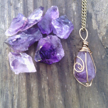 Raw Amethyst necklace, pendant, boho necklace, healing stone, bronze, amethyst, pendulum, point, raw, crystal, stone, birthstone, purple