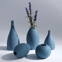 Creative Zen Mediterranean Ceramic Vase Home Furnishing Model Room Decor Style Dry Ash Flower Vase 5 Shape 3 Color