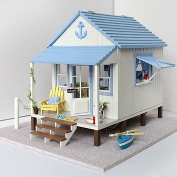 Beachside DIY Wooden Dollhouse Miniature Kit w/Lights, Music, and Accessories