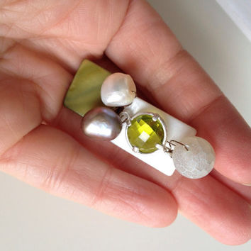 Shells, Crystals, Agate and Pearls Brooch - Green and White Brooch