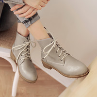 Lace Up Round Toe Ankle Boots Shoes Woman 3316 3316