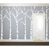 Birch Trees Silhouettes Forrest - Vinyl Wall Art Decal for Homes, Offices, Kids Rooms, Nurseries, Schools, High Schools, Colleges, Universities