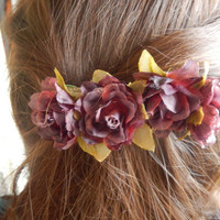 Delicate Floral Hairclip- Deep Red or Pale Pink