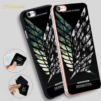 Cool Attack on Titan Japanese Anime  Wings Soft Silicone Phone Case for iPhone X 8 5S XR XS Max 5 SE 6 6S 7 Plus Cover AT_90_11