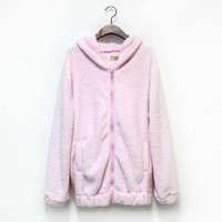 Women  Hoodies  Zipper    Winter  Loose  Fluffy  Hoodie