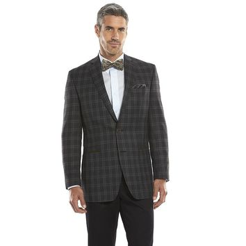 Van Heusen Studio Modern-Fit Gray Plaid Sport Coat - Men, Size: