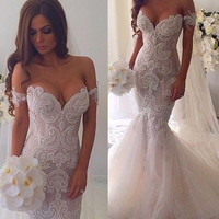 Amazing New Wedding Dress 2016 Sweetheart Neck Off the Shoulder Mermaid Chapel Train Tulle Bride Dresses Robe de mariage