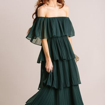 Vera Pleated Ruffle Dress