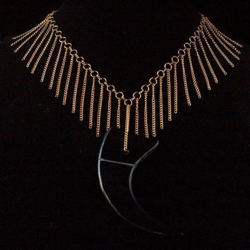 black horn claw and gold chain fringe necklace // gold toned chain with large claw pendant