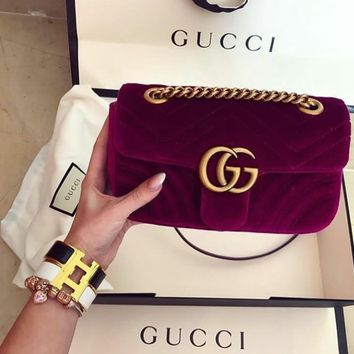 GUCCI Fashion Ladies Personality Double GG Metal Chain Crossbody Satchel Shoulder Bag Purple I