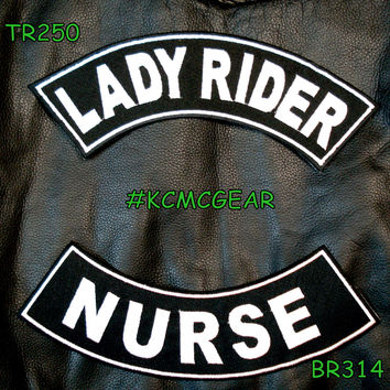 Lady Rider Nurse Embroidered Patches Sew on Patches Motorcycle Biker Patch Set for Jackets