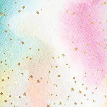 WATERCOLOR PASTEL RAINBOW GOLD STAR TITANIUM CLOTH BACKDROP - 5x6 - LCTC6383 - LAST CALL